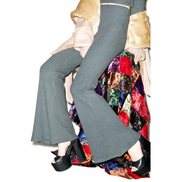 Somedays Lovin Freedom Ribbed Charcoal Flare Trousers