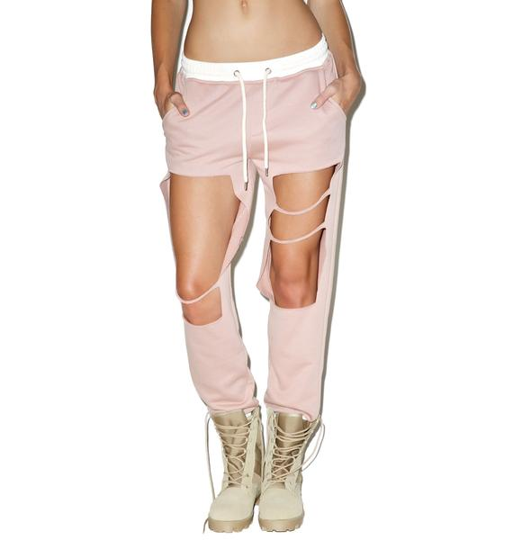 Blush Distressed Cut-Out Joggers
