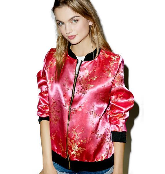 O Mighty Cherry Blossom Bomber Jacket