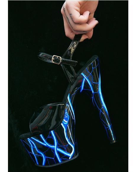 Lightning Glow In The Dark Platform Heels
