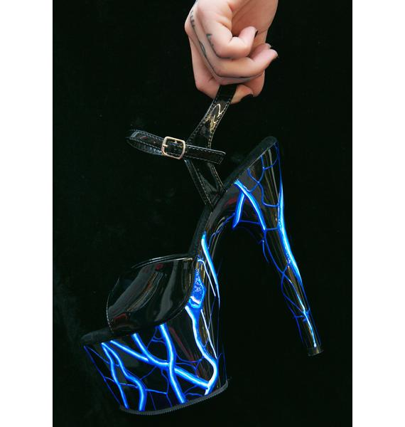 Pleaser Lightning Glow In The Dark Platform Heels