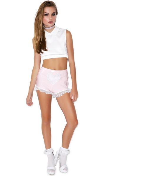 Sweet Heart Vinyl Lace Trim Shorts