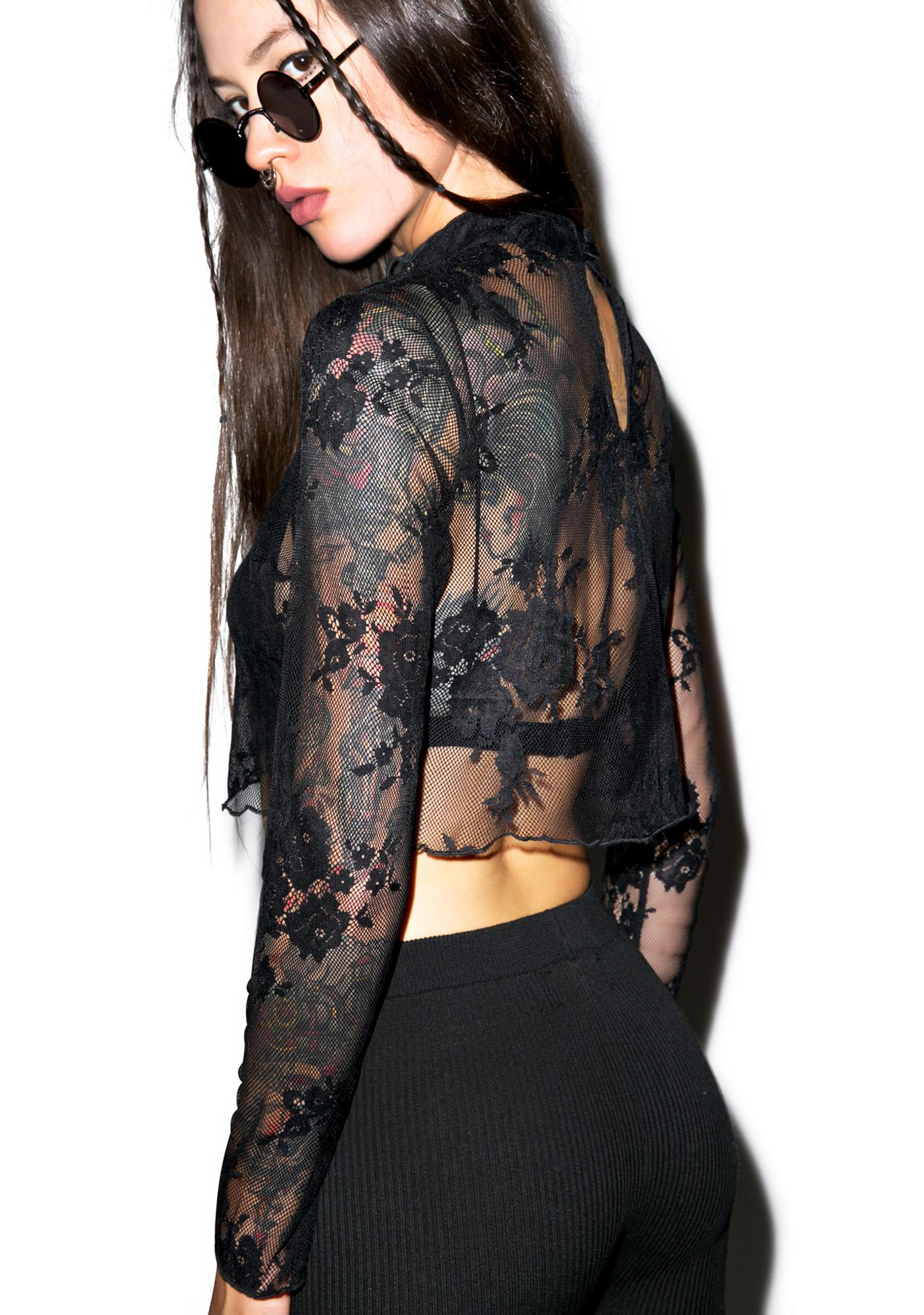 Glamorous Dark Angel Lace Crop Top