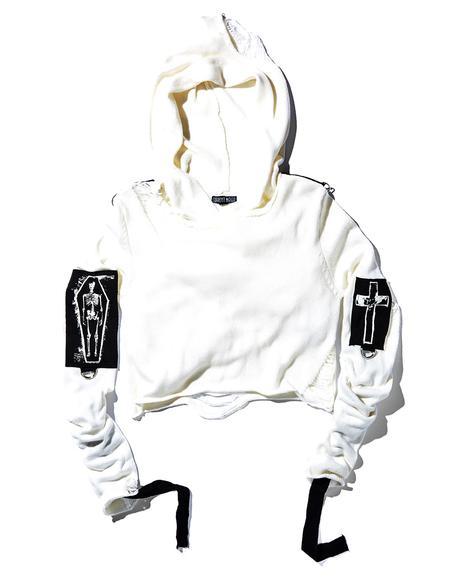 Ivory Warped Shredded Sweater