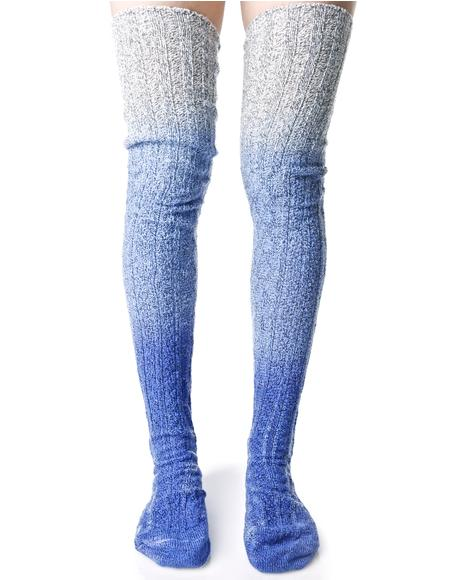 Perfect Blu Thigh High Socks