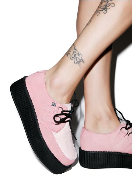 Pink Suede & Faux Fur Mondo Creepers