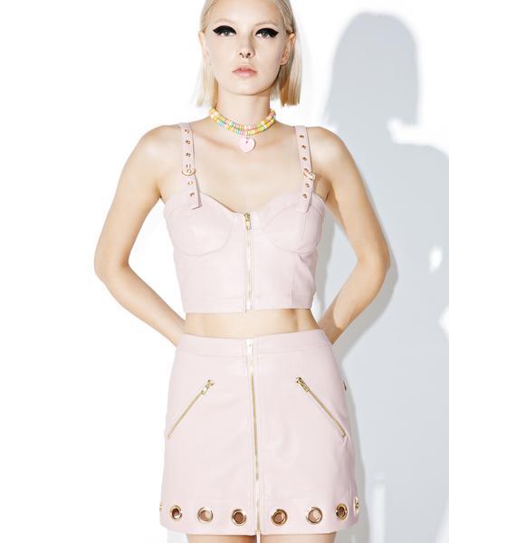one spo Gold Eyelet Mini Skirt
