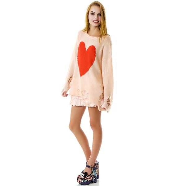 Wildfox Couture Big Heart Lennon Sweater
