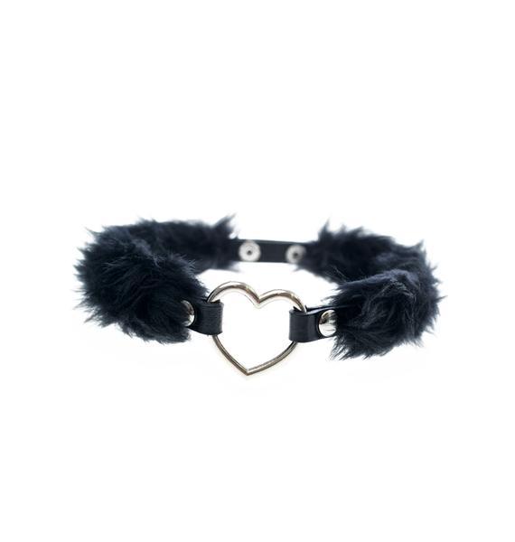 Kerenika Raven's Heart Faux Fur Choker