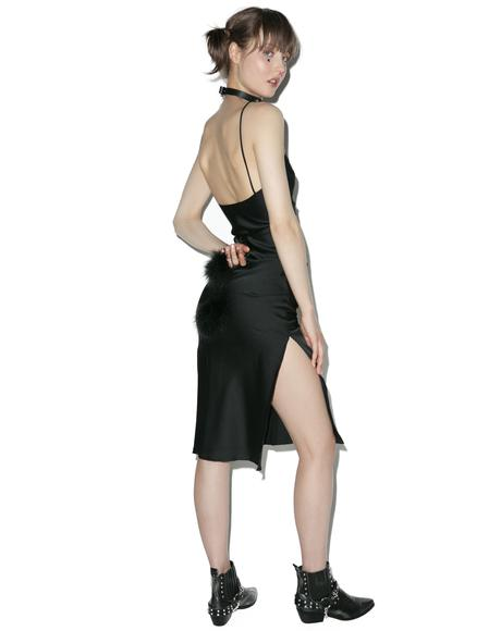 Black Gold Digger Midi Slip Dress