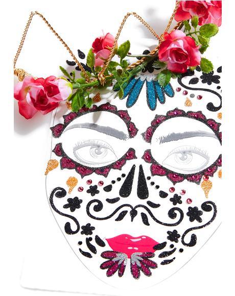 Dia De Los Muertos Jeweled Face Mask