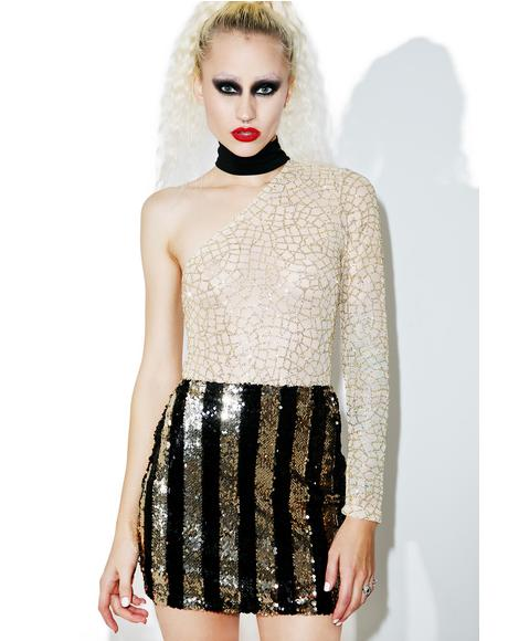 Stripe Nights Sequin Tube Skirt