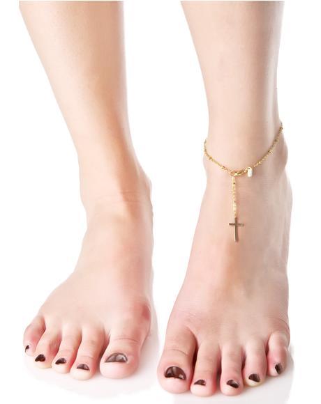 Gilded Cross My Heart Anklet