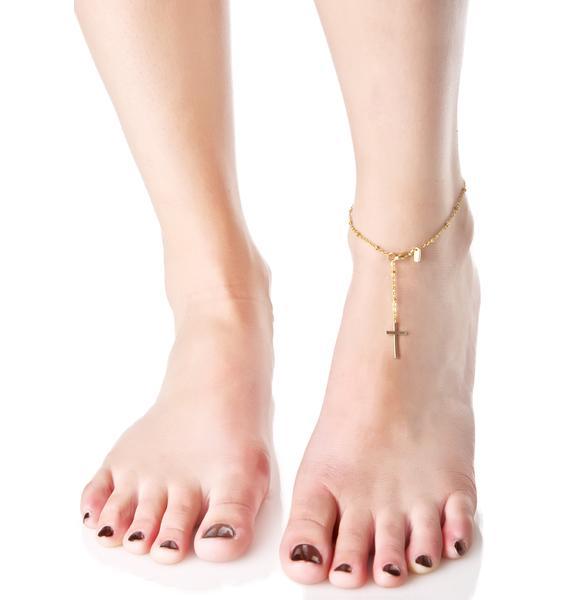 Vanessa Mooney Gilded Cross My Heart Anklet