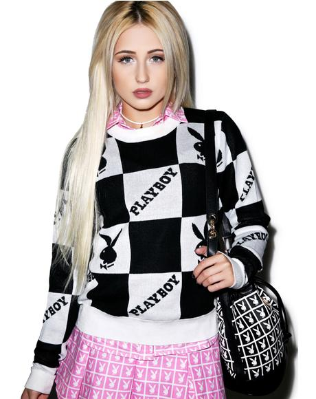 X Playboy Checkered Knit Crew