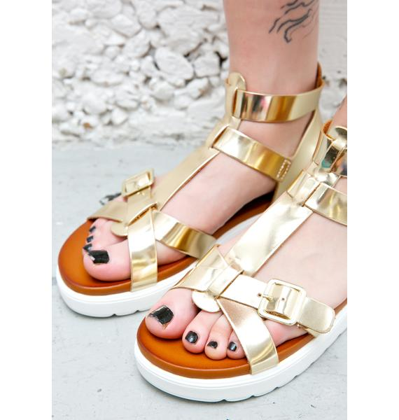 Vagabond Metallic Golden Gladiator Sandals