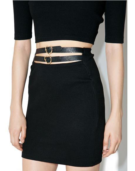 Heart Belt Mini Skirt