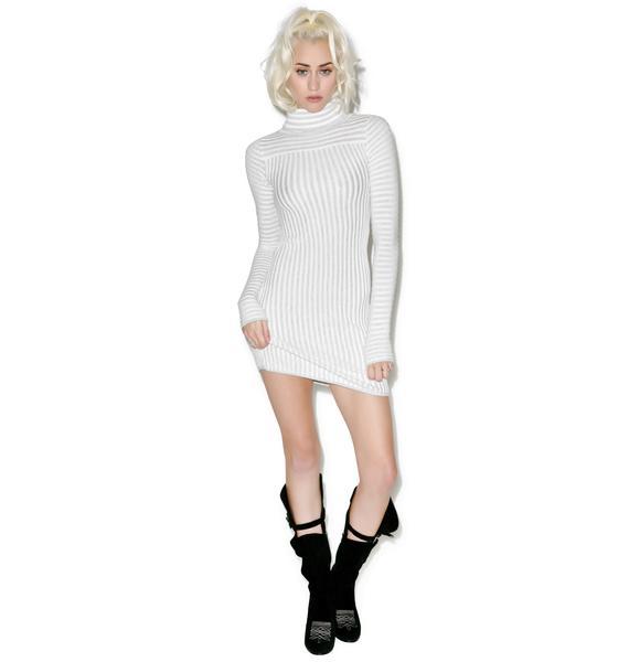 For Love & Lemons Switch Stripe Grey Turtleneck Dress