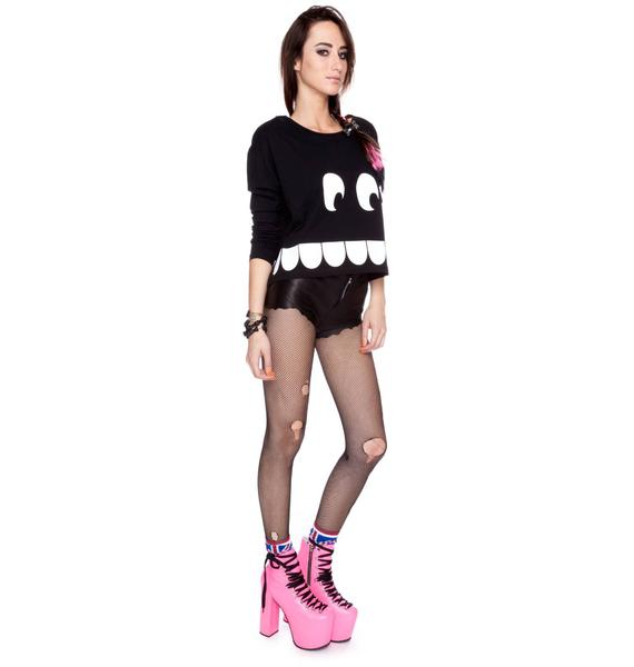 Lazy Oaf Toothy Long Sleeved Box Crop Tee