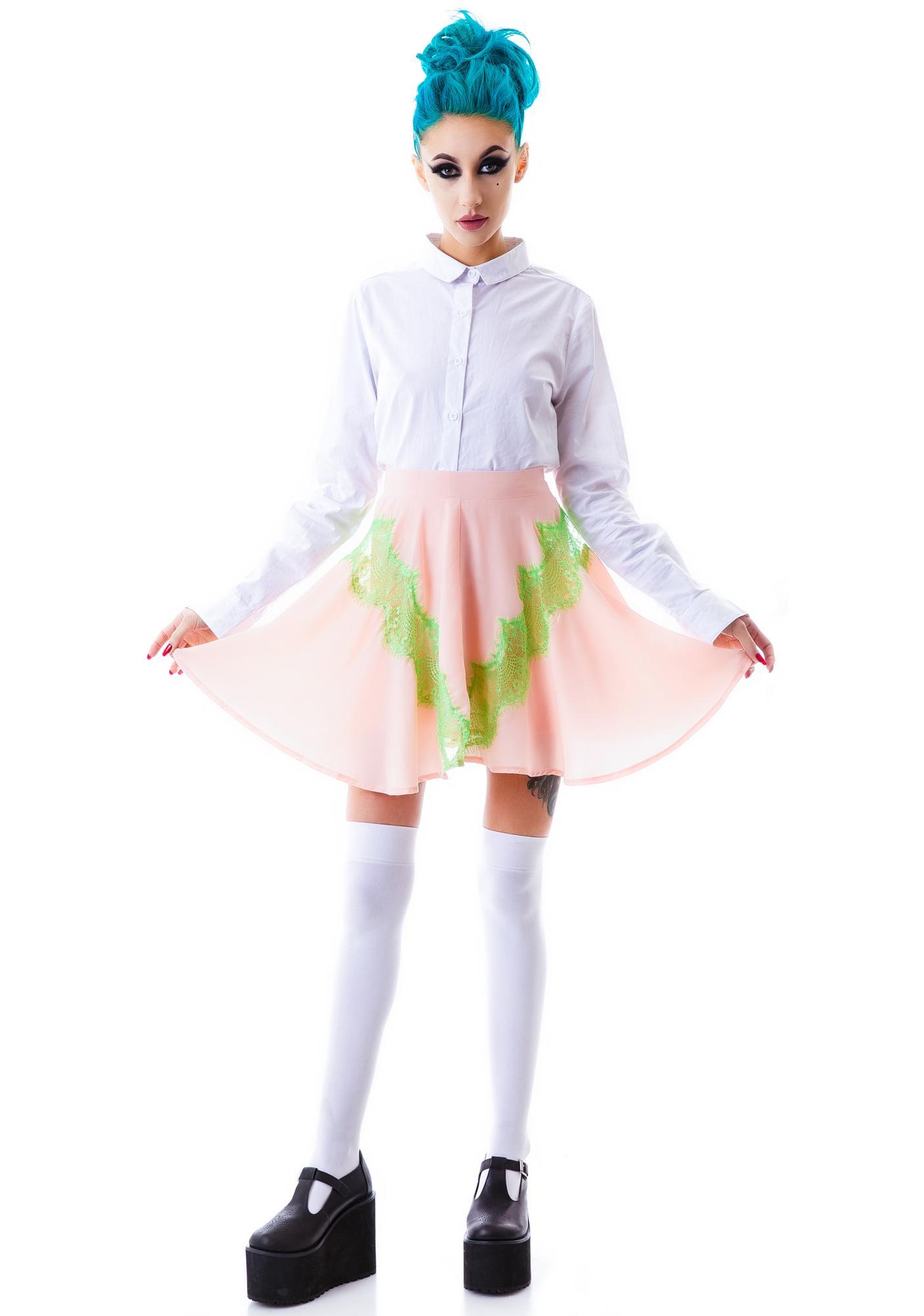 Watermelon Lace Skater Skirt