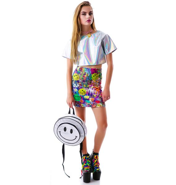 O Mighty Smiley From Acid Hologram Backpack