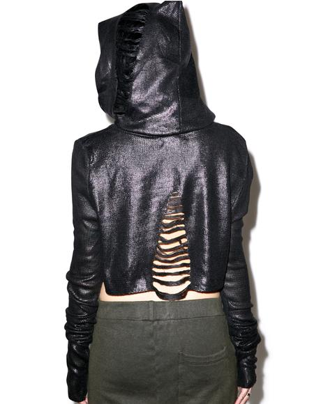 The Beginning Foil Cropped Hoodie