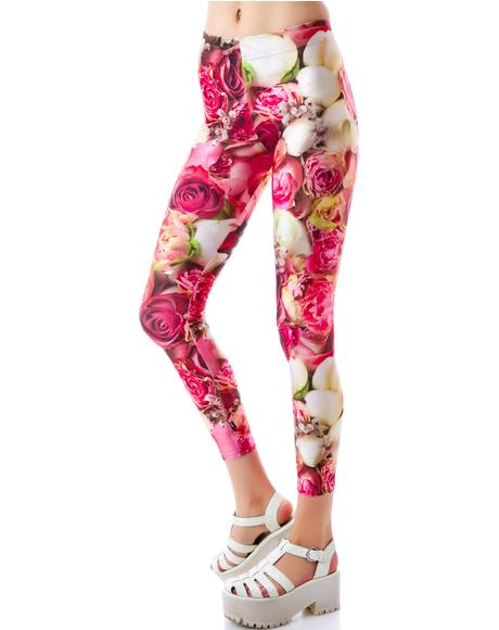Pink Flower Patch Leggings