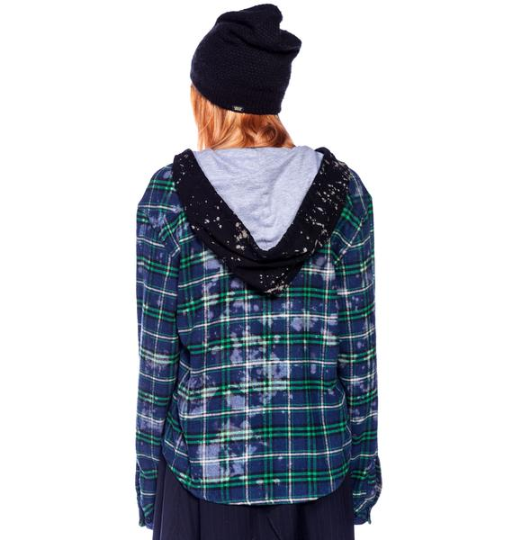 Bess NYC Studded Flannel Bleach Hoodie