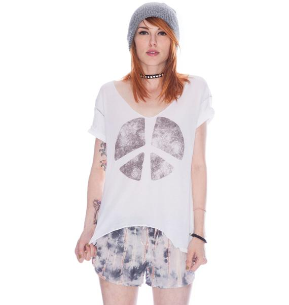 Chaser Double Peace Sign Destroyed Tee