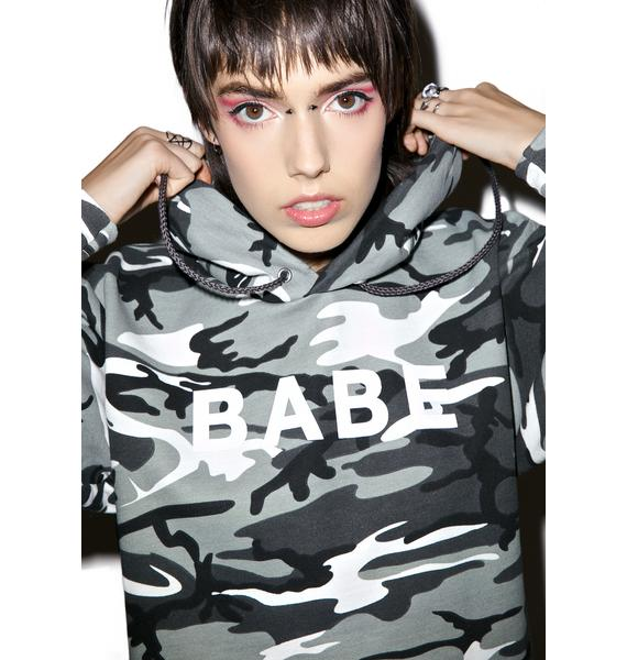 Petals and Peacocks Babe Camo Hoodie