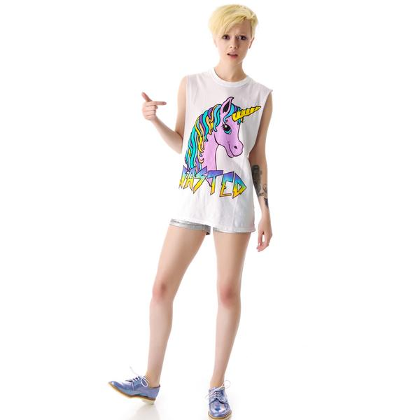 Jac Vanek Unicorn Pastel Wasted Burnout Unisex Muscle Tee