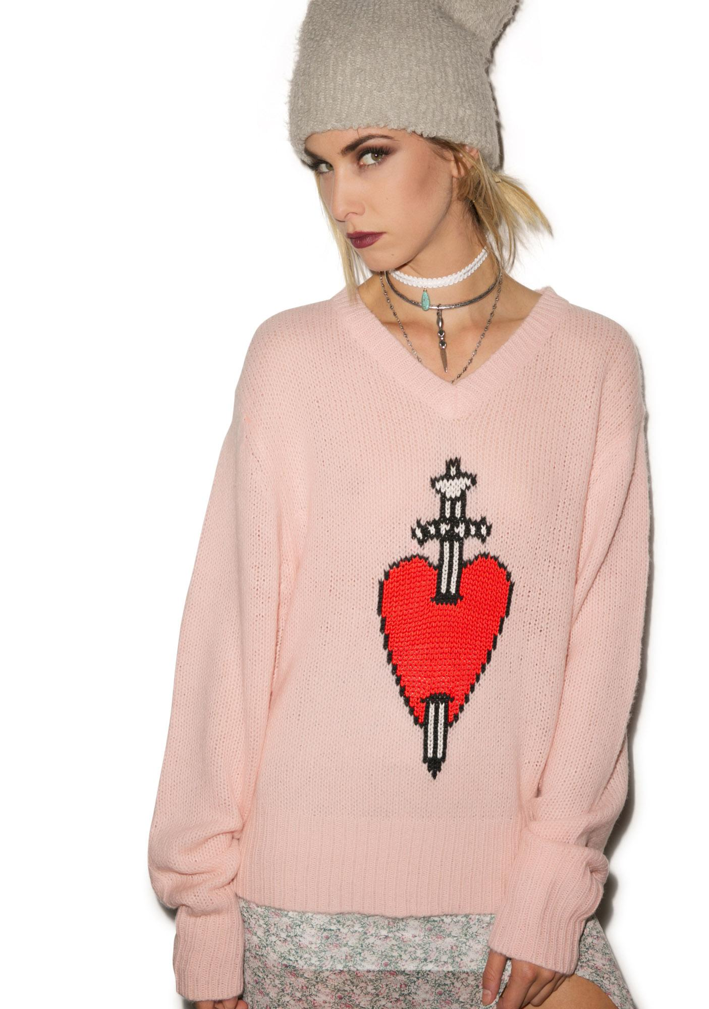 Wildfox Couture King of Hearts V-Neck Sweater