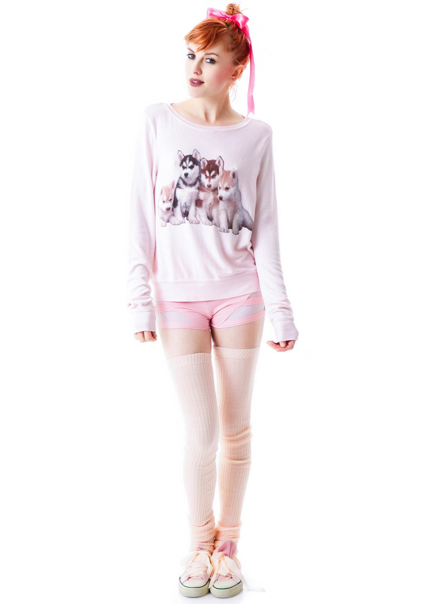 Wildfox Couture Little Huskies Baggy Beach Jumper