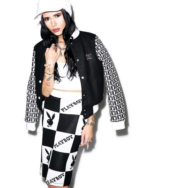 Joyrich X Playboy Checker Knit Tube Skirt