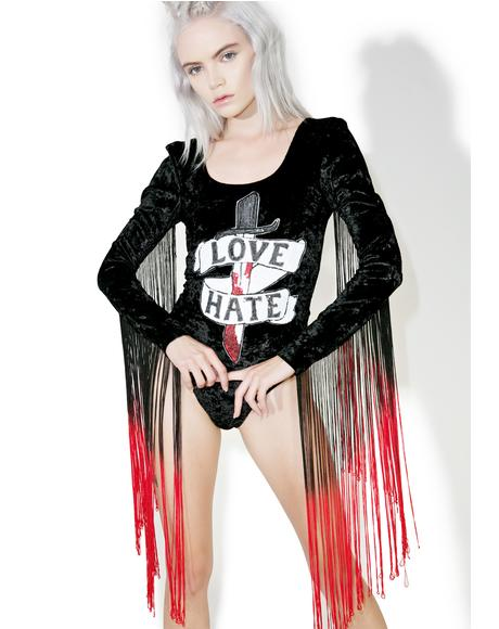 Love And Hate Velvet Bodysuit