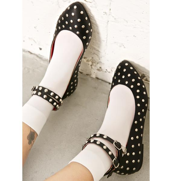 Demonia Devil's Kiss Studded Flats