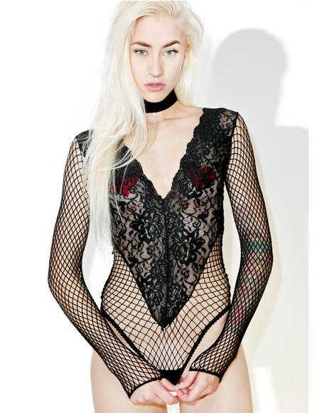 I've Been Bad Fishnet Bodysuit