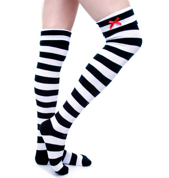 Sourpuss Clothing Striped Bow Over The Knee Socks