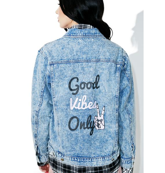 Good Vibes Only Denim Jacket