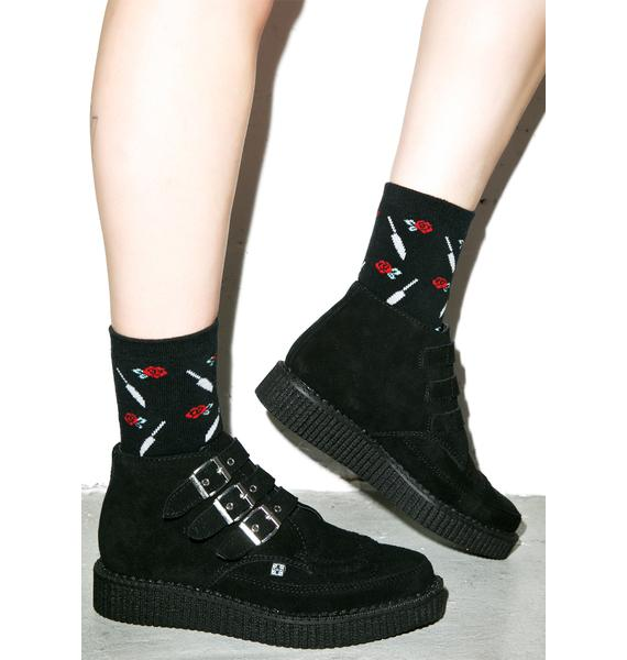 T.U.K. 3 Buckle Suede Pointed Creeper Boots
