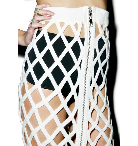 Open Cage Midi Skirt