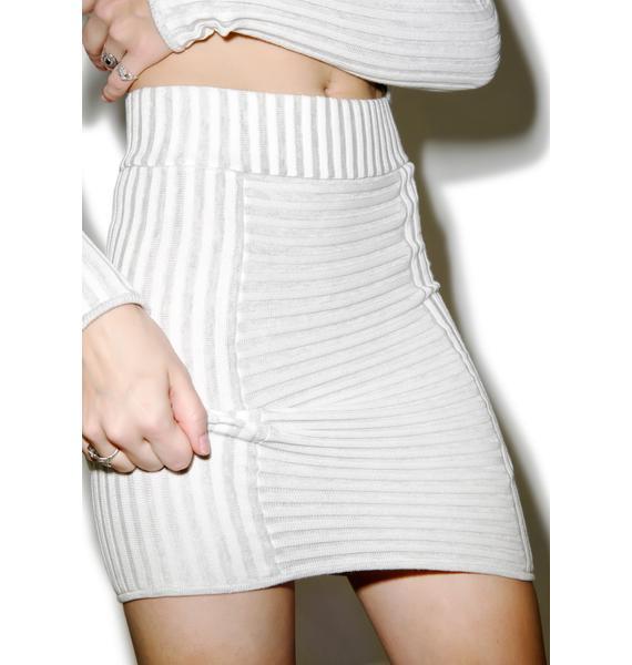 For Love & Lemons Switch Stripe Grey Mini Skirt