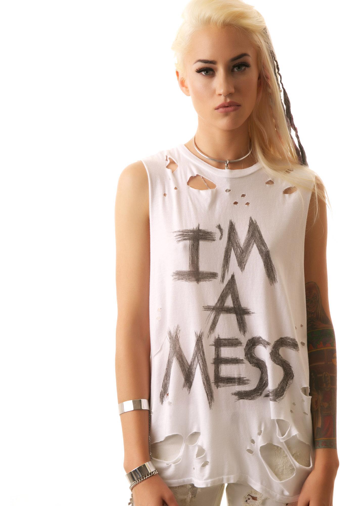 Lauren Moshi I'm A Mess Muscle Tee