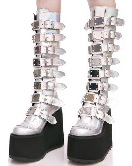 X Dolls Kill Hologram Trinity Boots