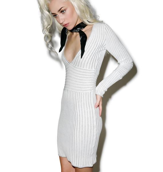 For Love & Lemons Switch Stripe Grey Deep V-Neck Dress