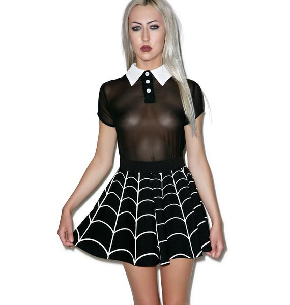 Killstar Wednesday Chiffon Collar Top