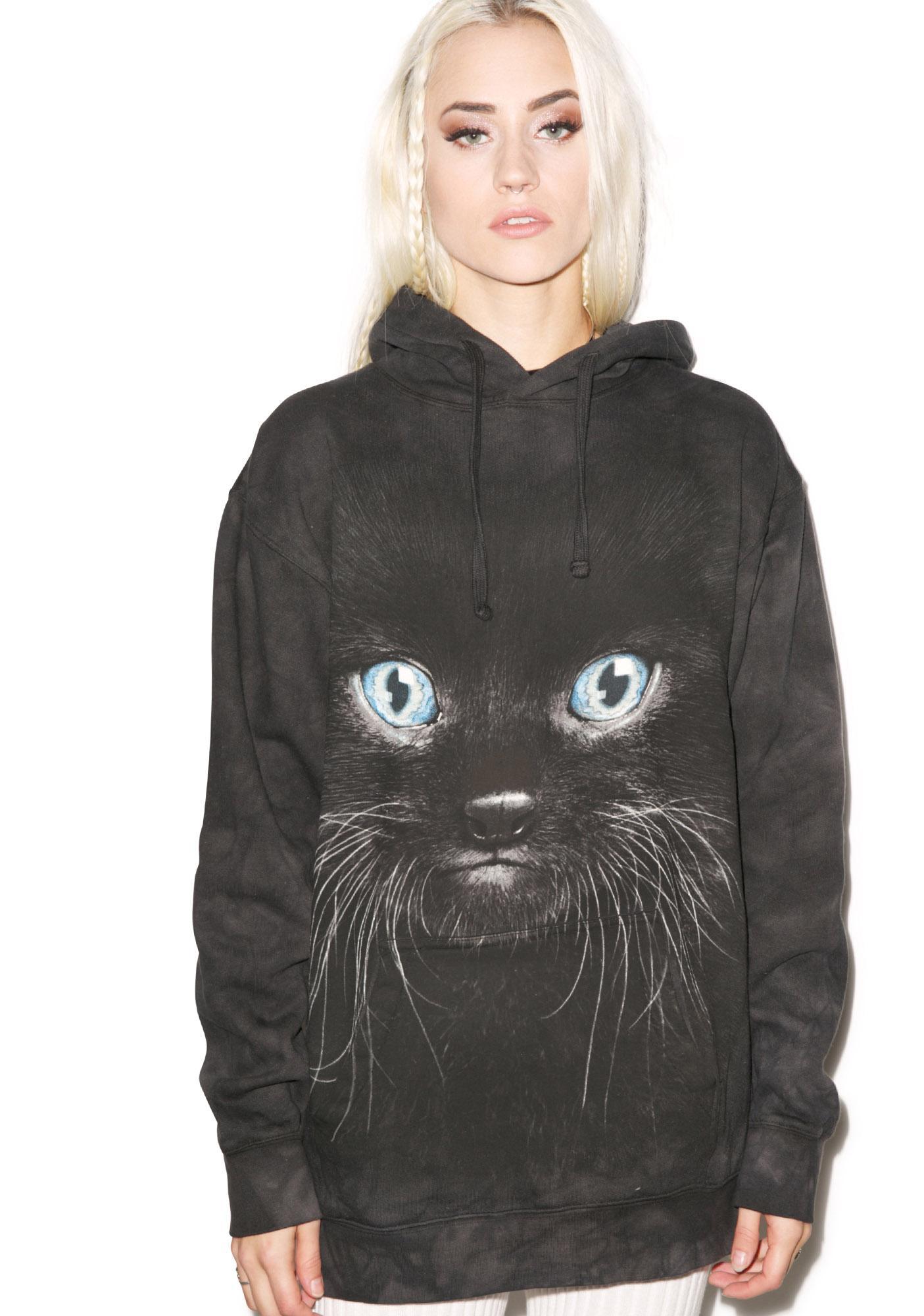 Black Kitten Face Hoodie