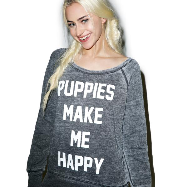 Puppies Make Me Happy Title Acid Wash Sweatshirt