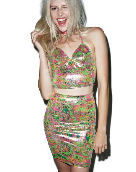 Colorful Camo Two Piece Dress