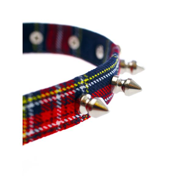 Club Exx Plaid Dreams Spiked Choker
